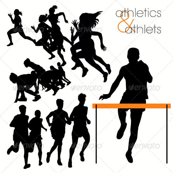 Running Athlettes Silhouettes Set