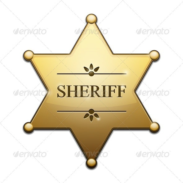 Golden Sheriff Star - Decorative Symbols Decorative