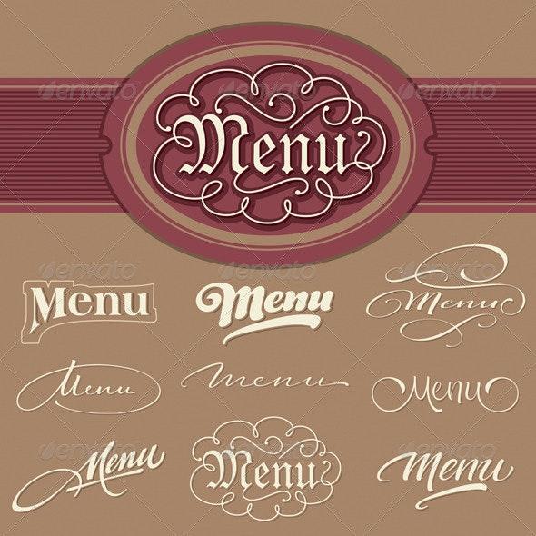 Menu headlines, hand lettering set (vector) - Decorative Vectors