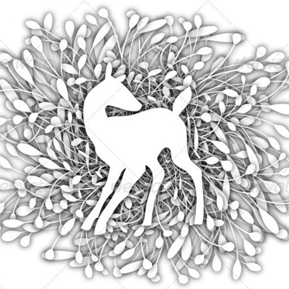 Deer with stylized leaves background