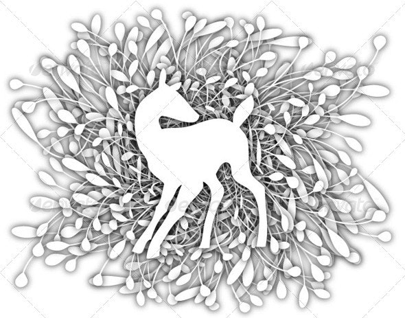 Deer with stylized leaves background - Animals Characters