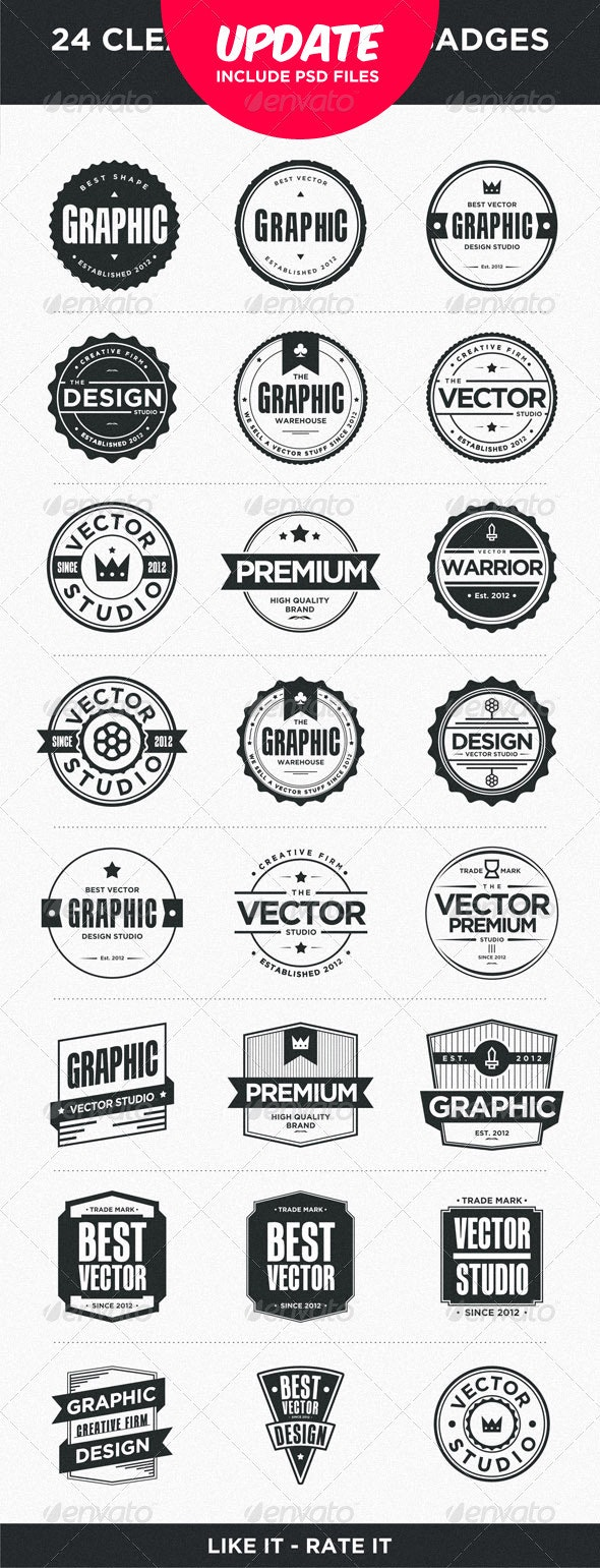 24 Clean and Modern Badges - Retro Technology