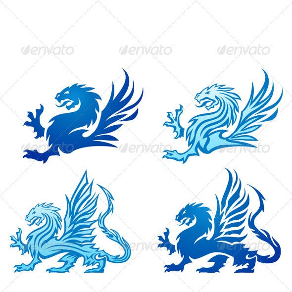 Blue Mighty Dragon Silhouettes