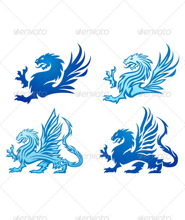 Blue Mighty Dragon Silhouettes - Tattoos Vectors
