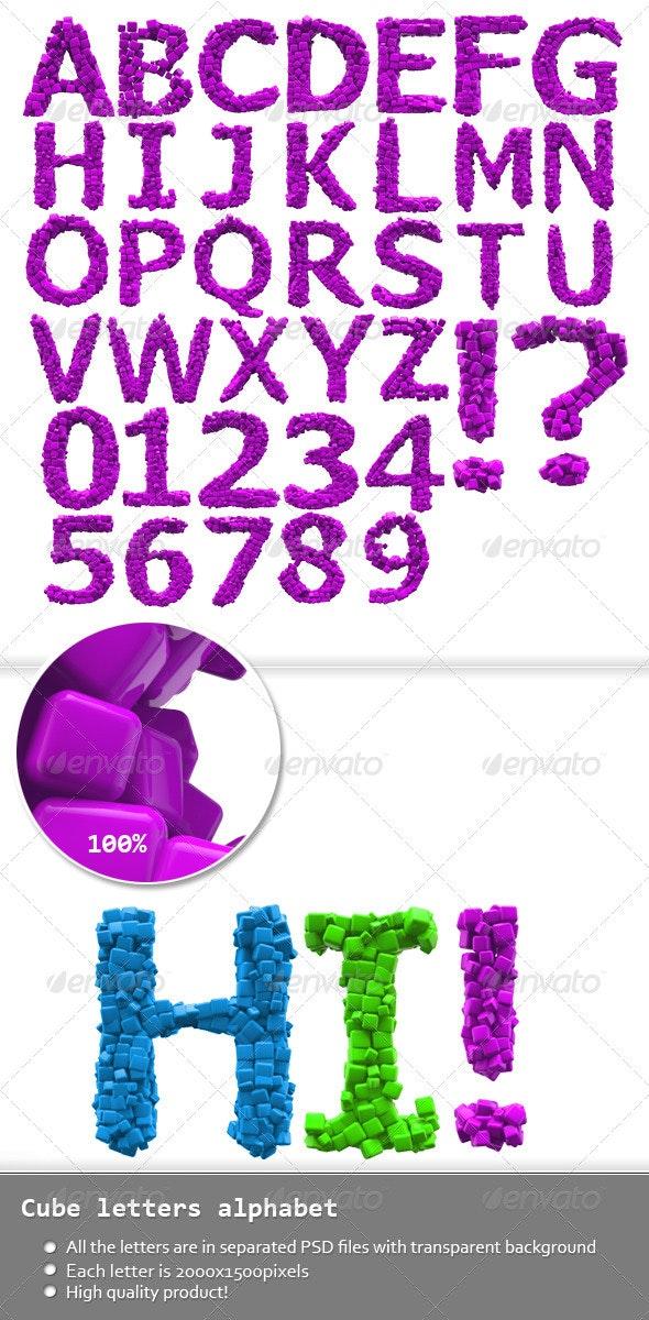 Cubic Letters Alphabet - Text 3D Renders