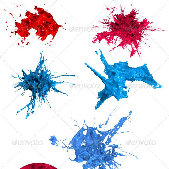 Variety of Isolated 3D Paint Splashes 1