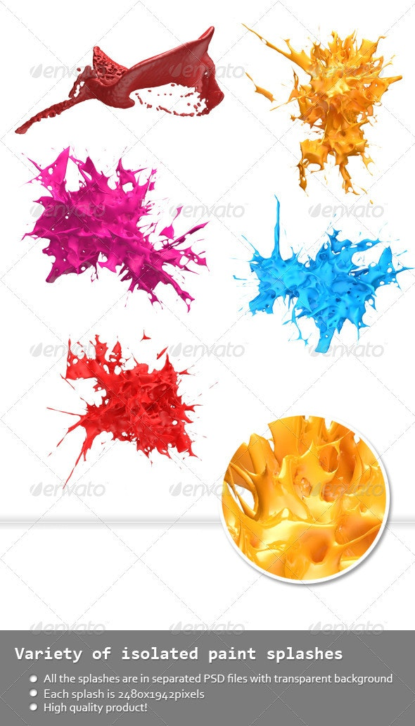 Variety of Isolated 3D Paint Splashes 2 - Abstract 3D Renders