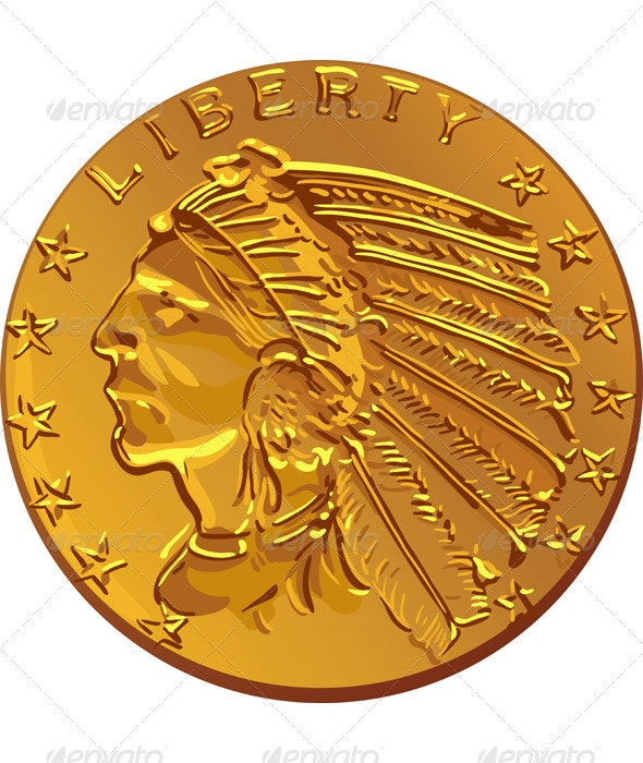 Vector American gold coin dollar - Man-made Objects Objects