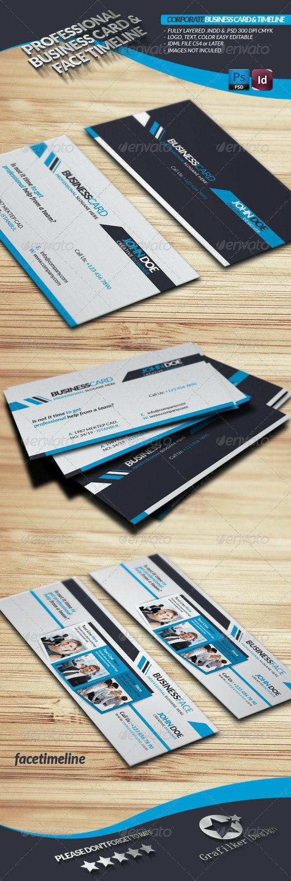 Corporate Business Card Face-Timeline - Corporate Business Cards