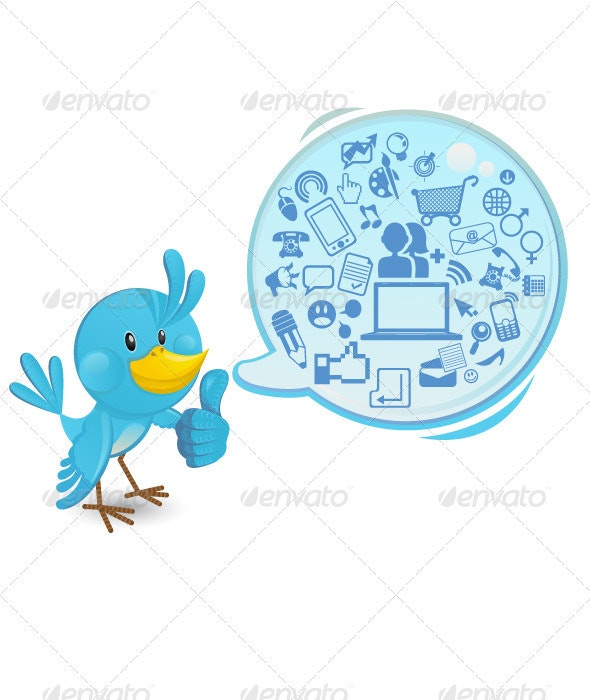 Social networking bluebird thumbs up - Animals Characters
