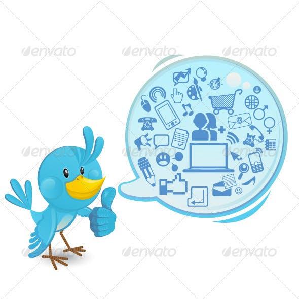 Social networking bluebird thumbs up