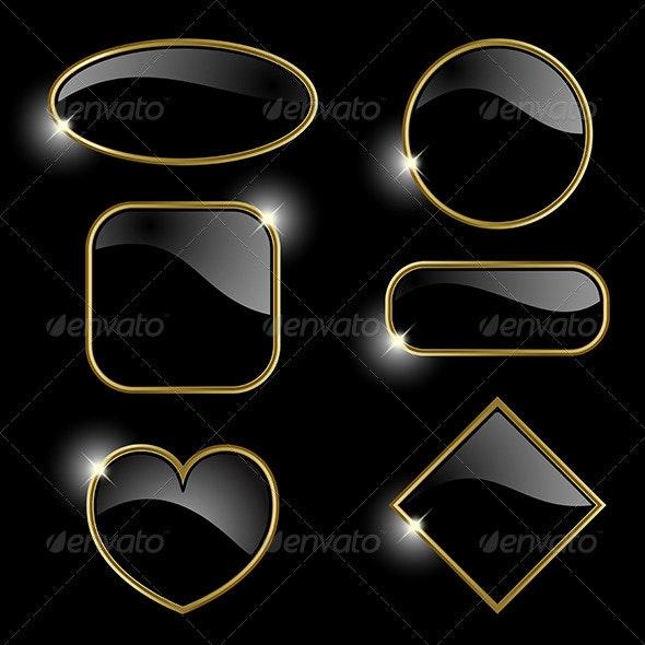 Set from golden frames  - Decorative Symbols Decorative