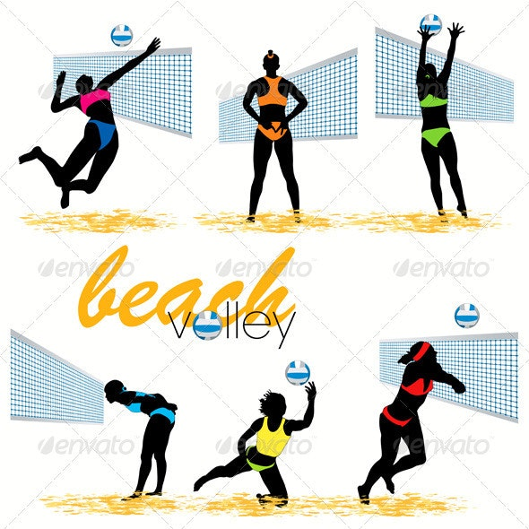 Beach volley silhouettes set - Sports/Activity Conceptual