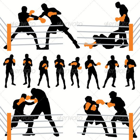 Boxing Athlettes Silhouettes Set