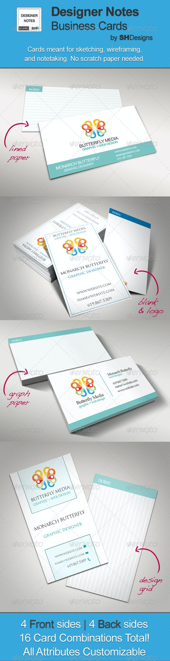 Designer Notes: Graph, Grid, Lined Business Cards - Creative Business Cards