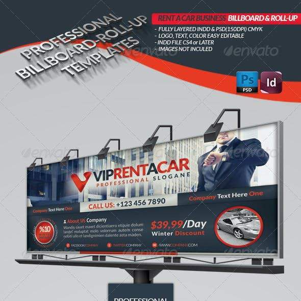 Rent A Car Business Billboard & Roll-Up