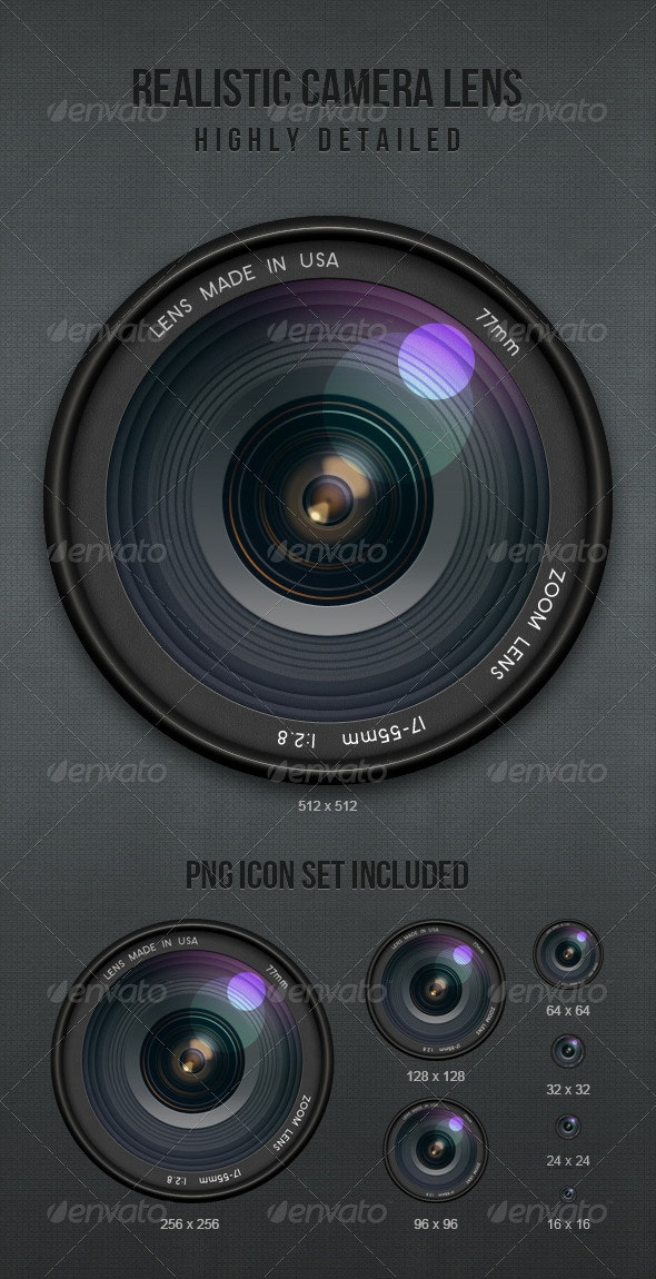 Realistic Camera Lens - Objects Illustrations