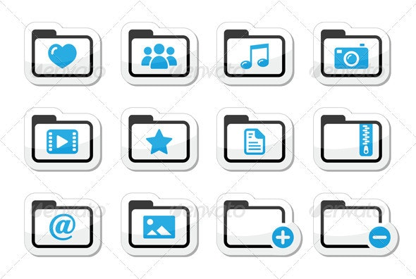 Folder Documents Music Film Icons Set - Computers Technology