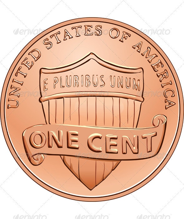 Vector American coin one cent, penny - Man-made Objects Objects