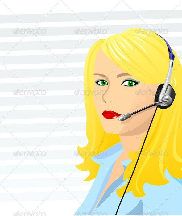 Vector beautiful blond girl telephone operator - People Characters