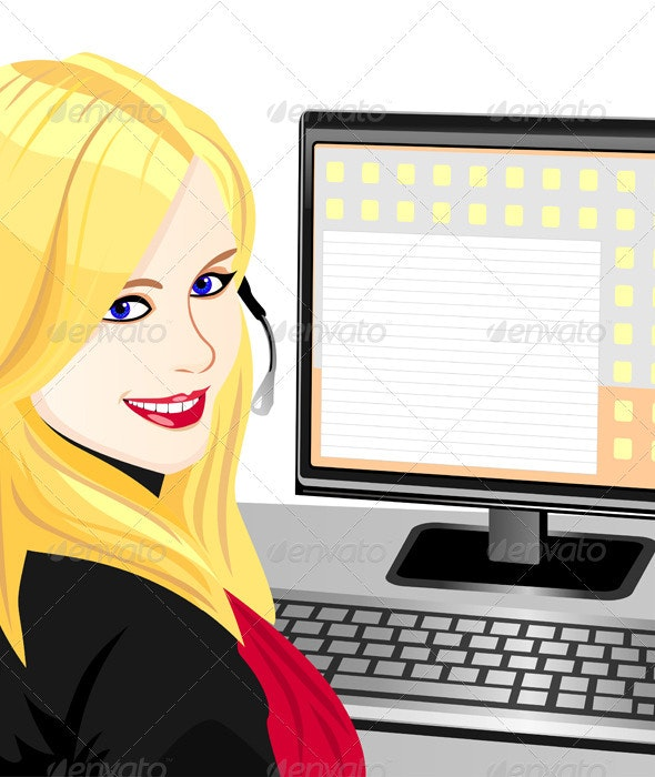 Vector young beautiful girl telephone operator - People Characters