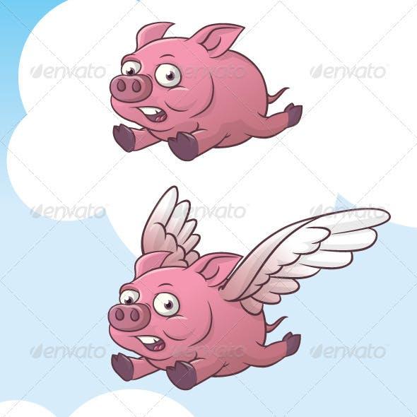 Set of flying pig