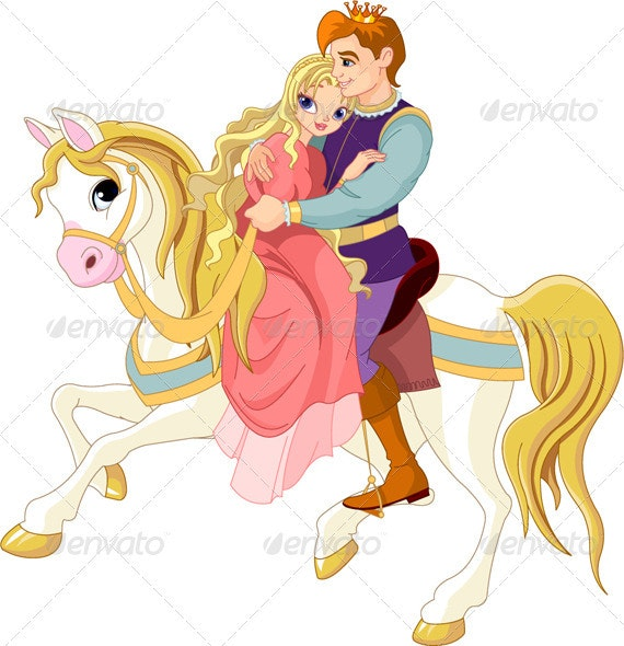 Romantic couple on white horse - Characters Vectors