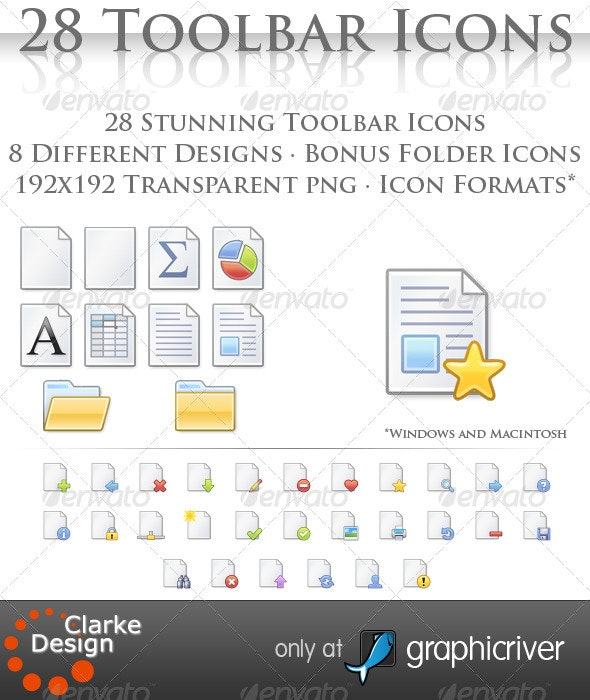 28 Toolbar Document Icons - Web Icons