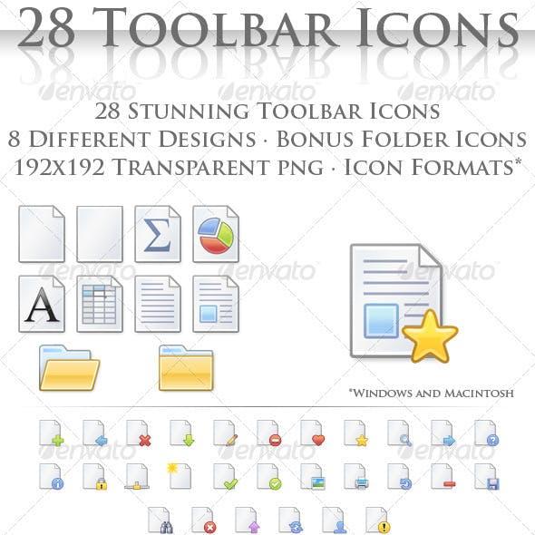 28 Toolbar Document Icons