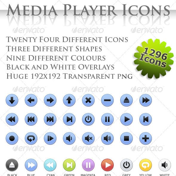 24 Media Player Icons