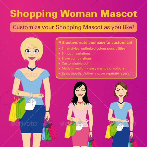 Shopping Woman Mascot Vector Kit