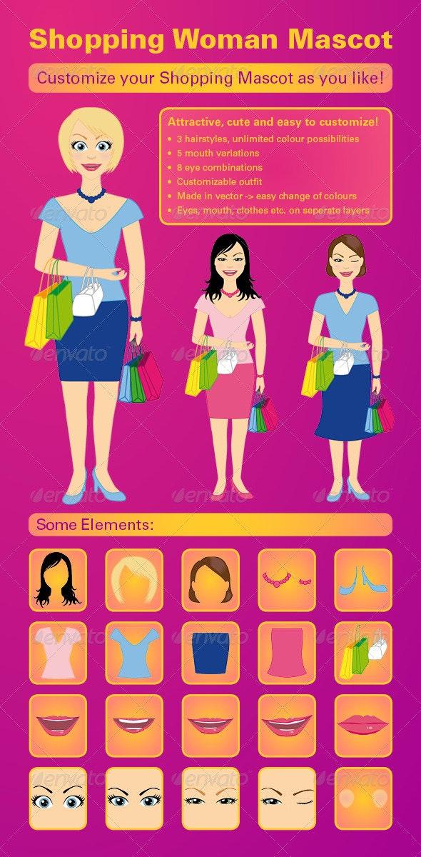 Shopping Woman Mascot Vector Kit - People Characters