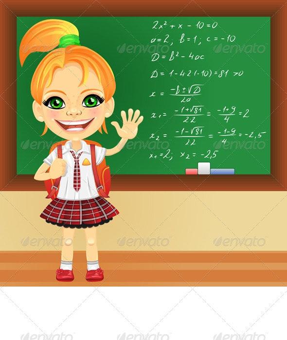 Vector smiling schoolgirl near blackboard - People Characters