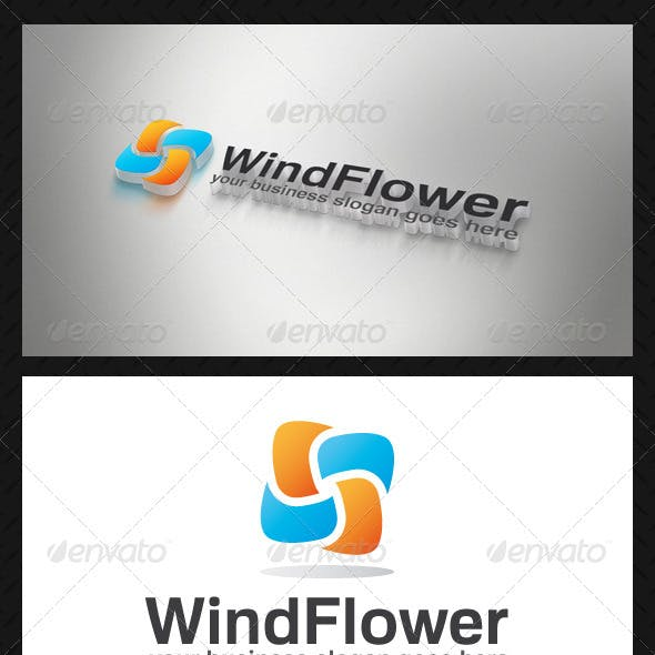 Wind Flower Logo Template