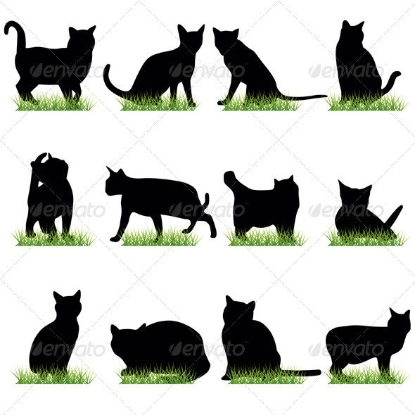 Cats Silhouettes Set - Animals Characters