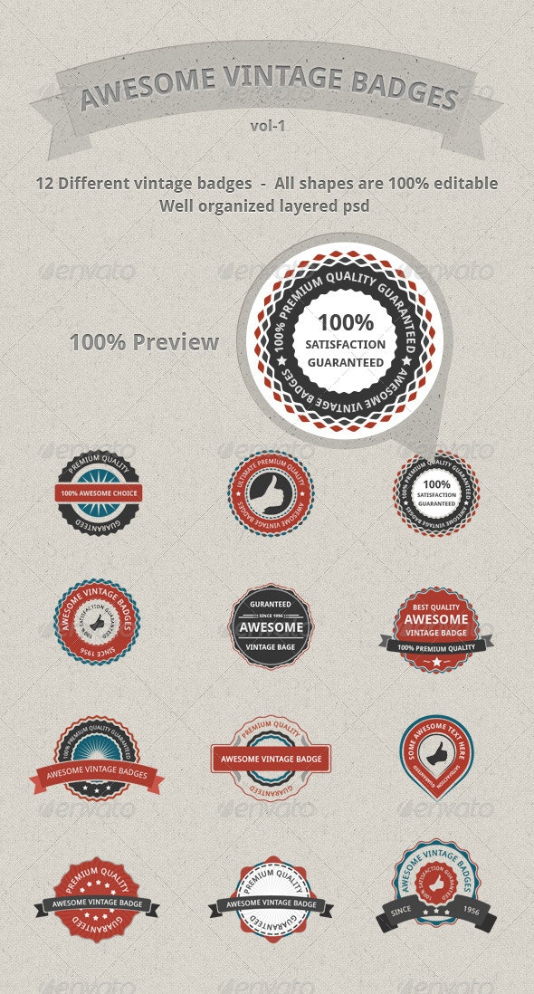 Vector Vintage Badges - Badges & Stickers Web Elements