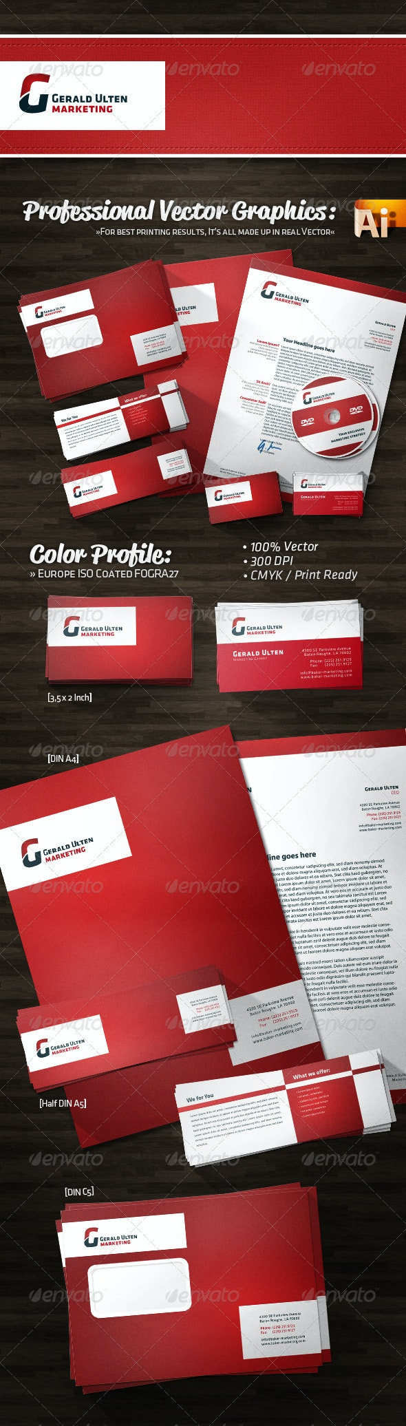 Bold Simple Marketing Corporate Identity - Stationery Print Templates