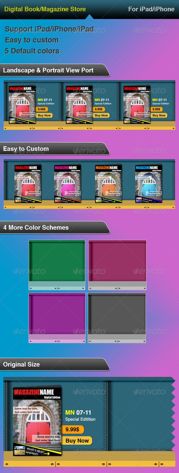 iPad & iPhone - Digital Magazine/Book Store - Sliders & Features Web Elements