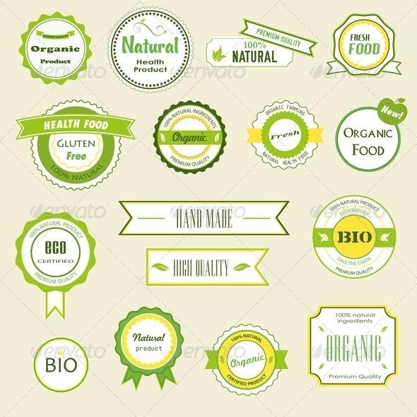 Organic Labels, Logos and Stickers - Health/Medicine Conceptual