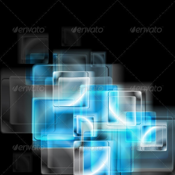 Abstract blue glass squares. Vector - Backgrounds Decorative