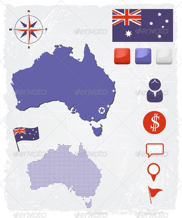 Australia Map Icons And Buttons Set - Travel Conceptual