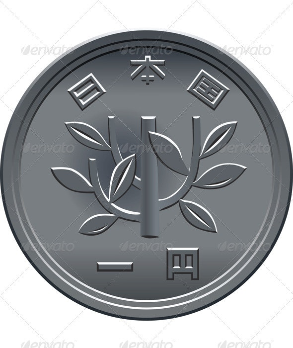 Vector Japanese Yen coin  - Man-made Objects Objects