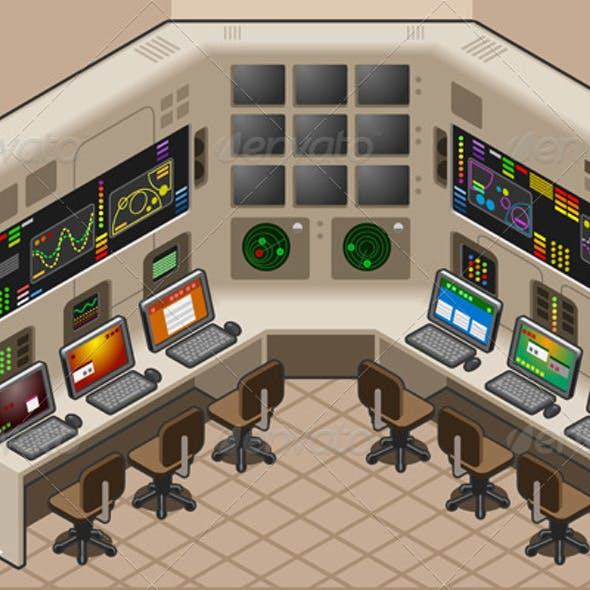 Isometric Control Center With Two Mega Screen