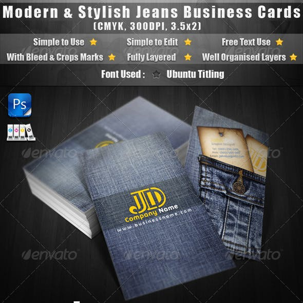 Modern & Stylish Jeans Business Cards