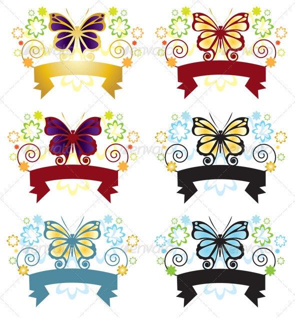 Butterfly Banner - Decorative Vectors