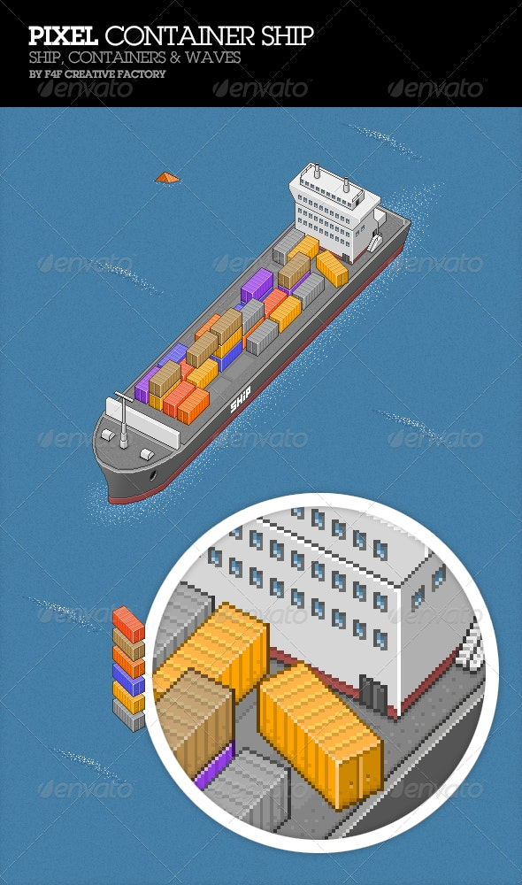Pixel Container Ship - Illustrations Graphics