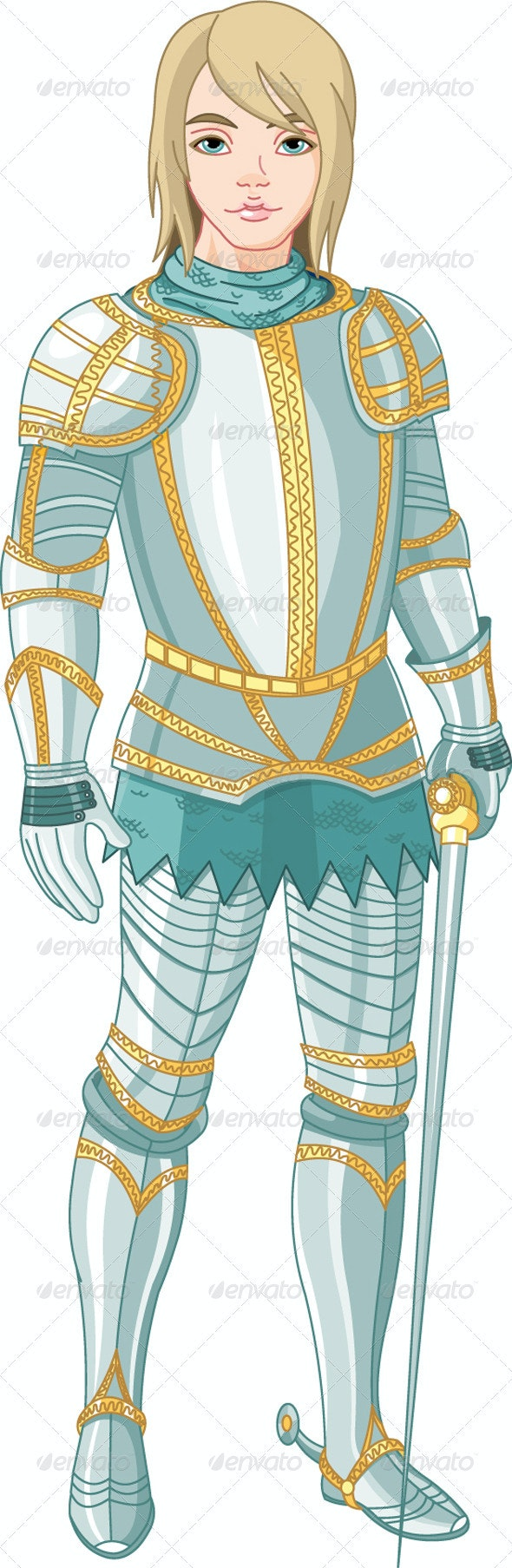 Young knight holding a sword - Characters Vectors