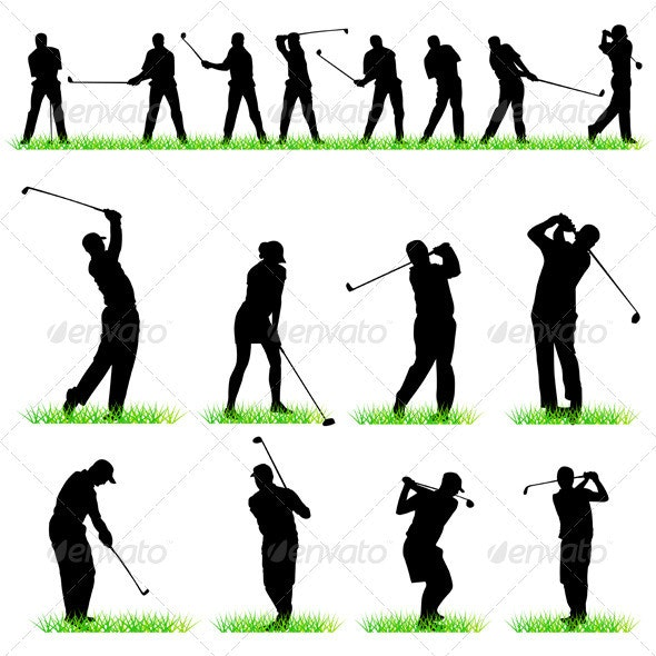 Golf Players Silhouettes Set - Sports/Activity Conceptual