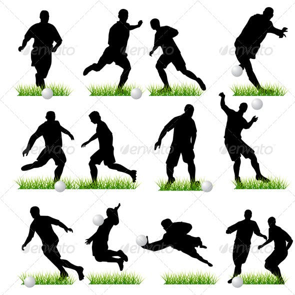 Football Players Silhouettes Set