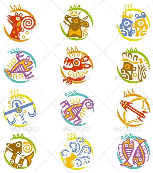 Maya art stylized zodiac signs - Decorative Symbols Decorative